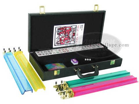 American Mah Jong Set - White Tiles - Faux Alligator Case - Matte Black - Pushers Not Included