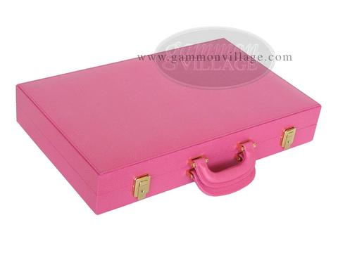 Zaza & Sacci® Leather Backgammon Set - Model ZS-501 - Medium - Pink