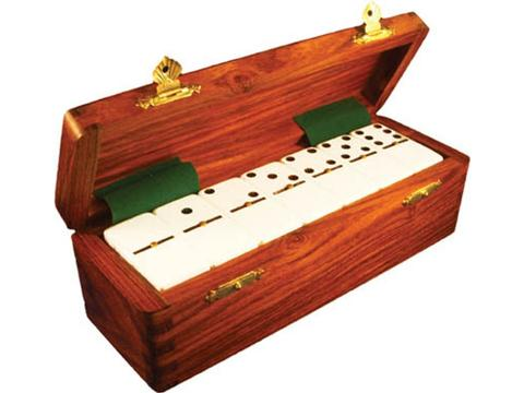 DOUBLE 6 White Dominoes Set - With Spinners - Wood Box