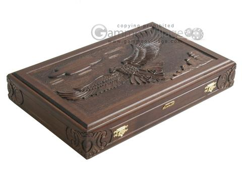 Carved Maple Backgammon Set with Racks - Eagle