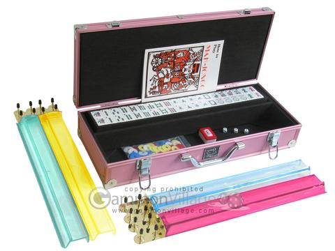 White Swan Mah Jongg™ - White Tiles - Aluminum Case - Pink - Pushers Not Included