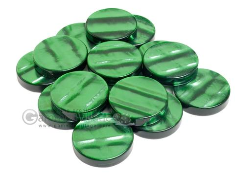 Backgammon Checkers - Acrylic - Green<br>(1 3/4in Dia.) - Roll of 15