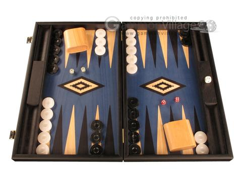 Black Backgammon Set - Large - Blue Field