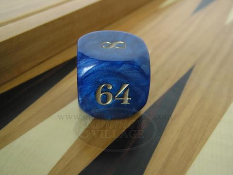Backgammon Doubling Cube - Blue Marbleized