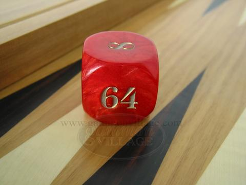 Backgammon Doubling Cube - Red Marbleized