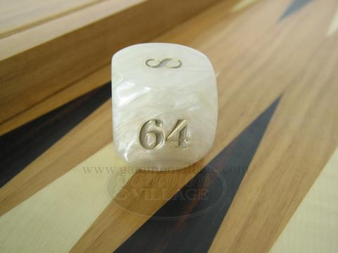 Backgammon Doubling Cube - White Marbleized