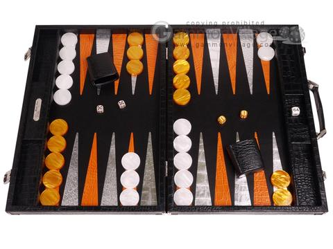 Hector Saxe Croco Leather Backgammon Set - Black - Oriflamme II