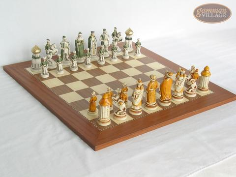 The Battle of Kazan Chessmen with Spanish Traditional Chess Board [Extra Large]