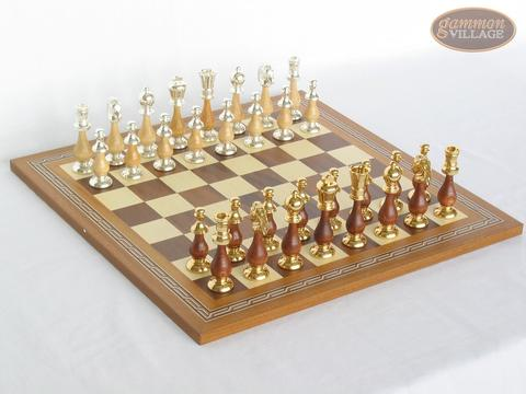 Modern Italian Staunton Chessmen with Spanish Mosaic Chess Board