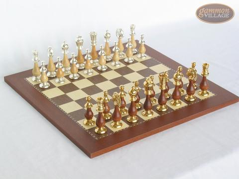 Modern Italian Staunton Chessmen with Spanish Traditional Chess Board [Small]