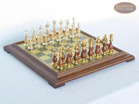 Modern Italian Staunton Chessmen with Italian Brass Chess Board [Raised]