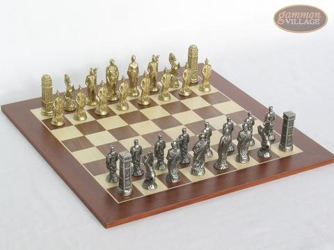 Brass Roman Chessmen with Spanish Wood Chess Board