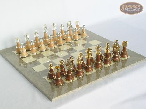 The Grand Chessmen II with Large Spanish Lacquered Chess Board [Grey]