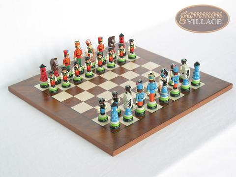 Hungarian Szur Chessmen with Italian Lacquered Chess Board [Wood]