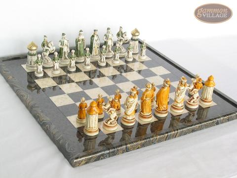 The Battle of Kazan Chessmen with Italian Lacquered Board [Black]