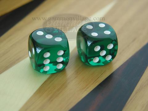Rounded High Gloss Lucent Dice - Green (1 pair)