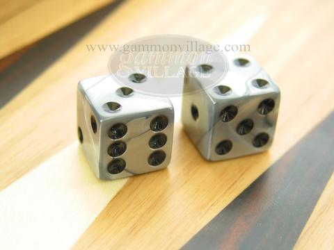 Square High Gloss Swoosh Dice - Silver (1 pair)