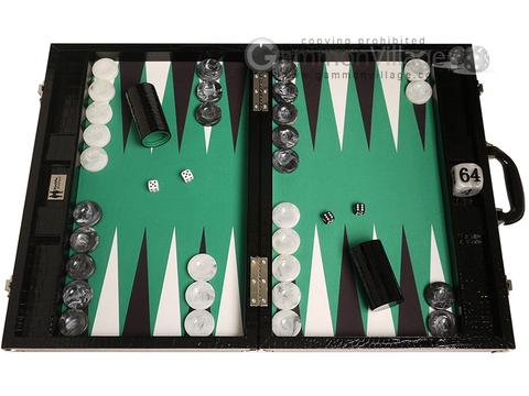 Wycliffe Brothers® 21-inch Tournament Backgammon Set - Black Croco Case with Green Field - Gen III
