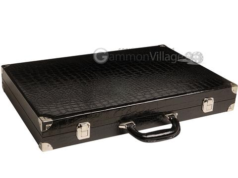 Wycliffe Brothers® 21-inch Tournament Backgammon Set - Black Croco Case with Blue Field - Gen III