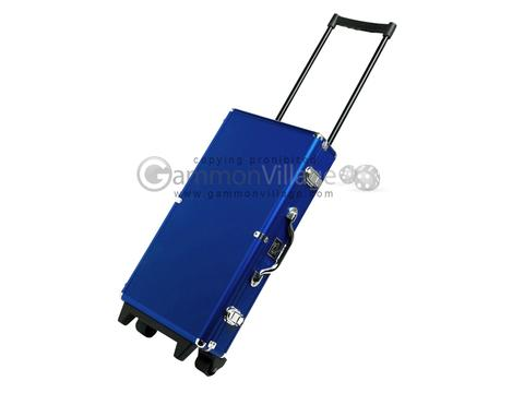 White Swan Mah Jongg™ - Ivory Tiles - Modern Pusher Arms - Wheeled Aluminum Case - Blue