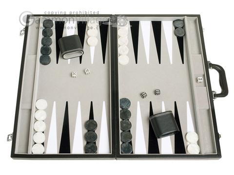 21-inch Tournament Backgammon Set - Inlaid Velvet Field - Black/Grey