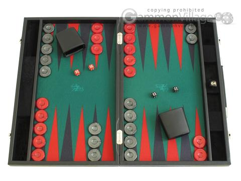 Hector Saxe Faux Leather Backgammon Set - Medium - Green Field