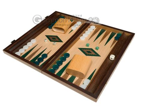 15-inch Oak Backgammon Set - Green