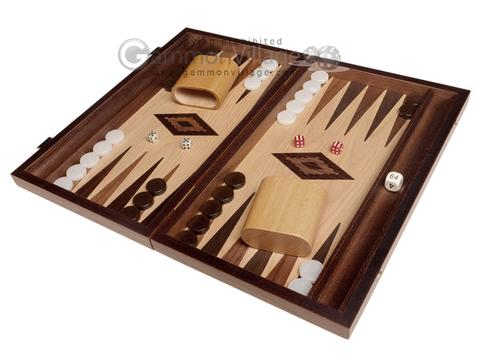 15-inch White Zebrano Backgammon Set - Oak Field