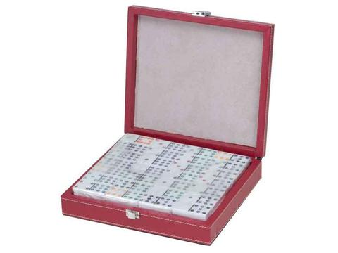 DOUBLE 12 Dominoes Set in Black and Red Leatherette Case
