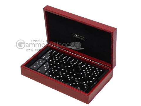 Double 6 Swarovski Crystal Black Dominoes Set - Red Croco Case