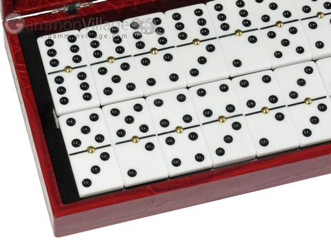 Double 6 Dominoes Set - Red Croco Case