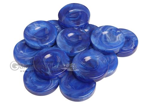 Backgammon Checkers - Marbleized - Royal Blue - with Finger Dish - (1 3/4 in. Dia.) - Roll of 15