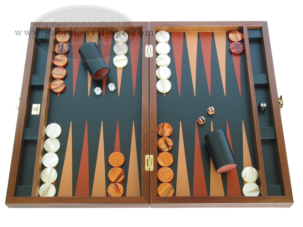 Zaza & Sacci® Folding Wood Backgammon Set - Model ZS-008 - Large - Leather/Mahogany