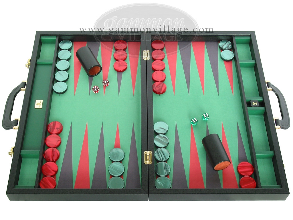 Zaza & Sacci® Leather/Microfiber Backgammon Set - Model ZS-760 - Large - Black