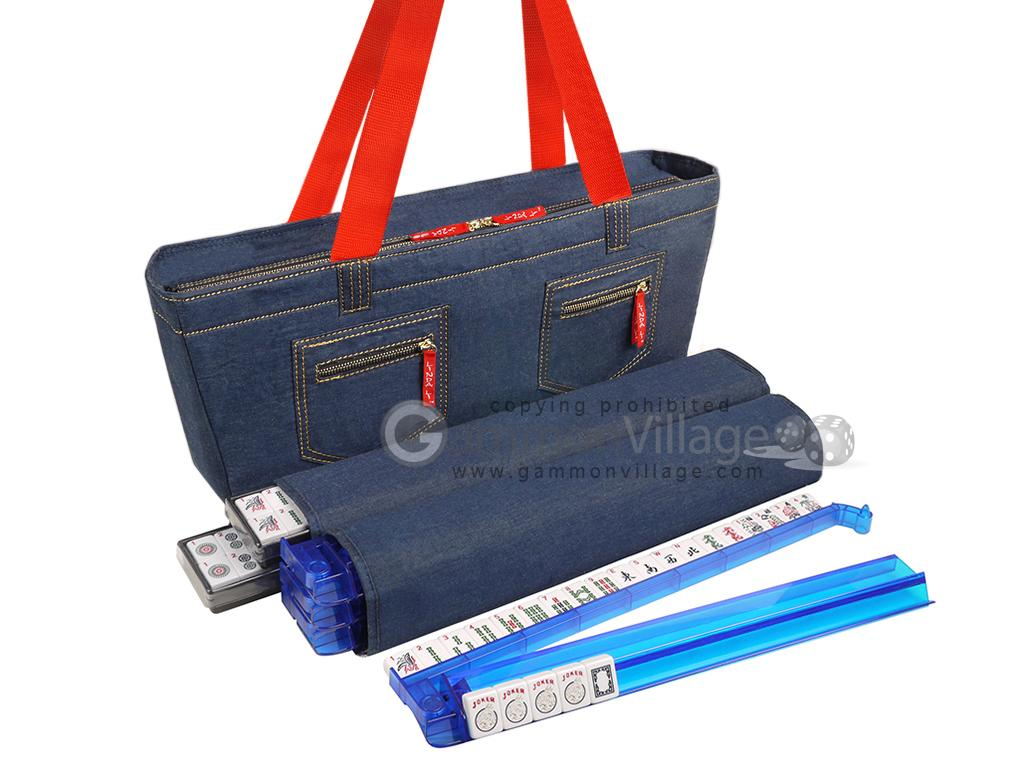 Soft-Sided American Mah Jongg Set by Linda Li™ with White Tiles and Modern Pushers - Denim Bag