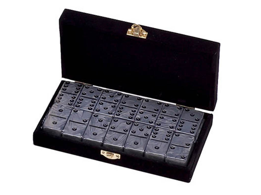 DOUBLE 6 Silver Dominoes Set - Velvet Box