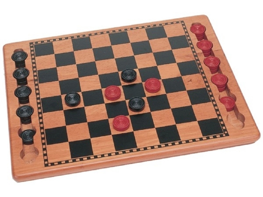 Solid Wood Checkers Set