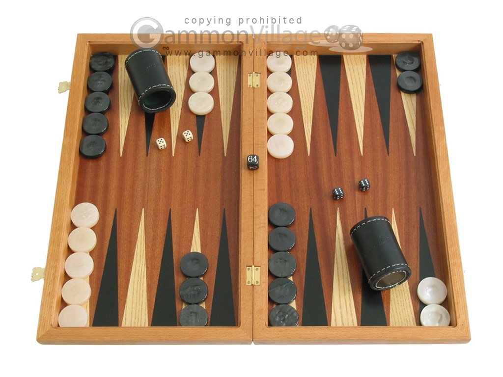 Mahogany Backgammon Set with Colored Inlays