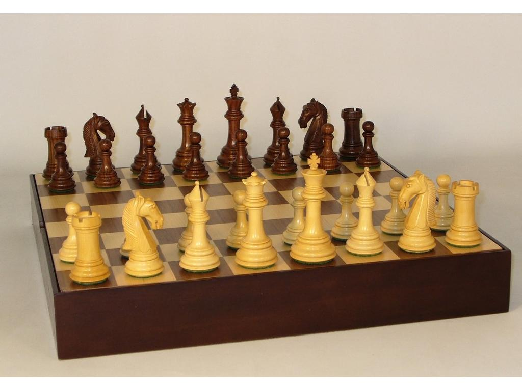 Sheesham Camelot Wood Chessmen with Walnut/Maple Chest Board