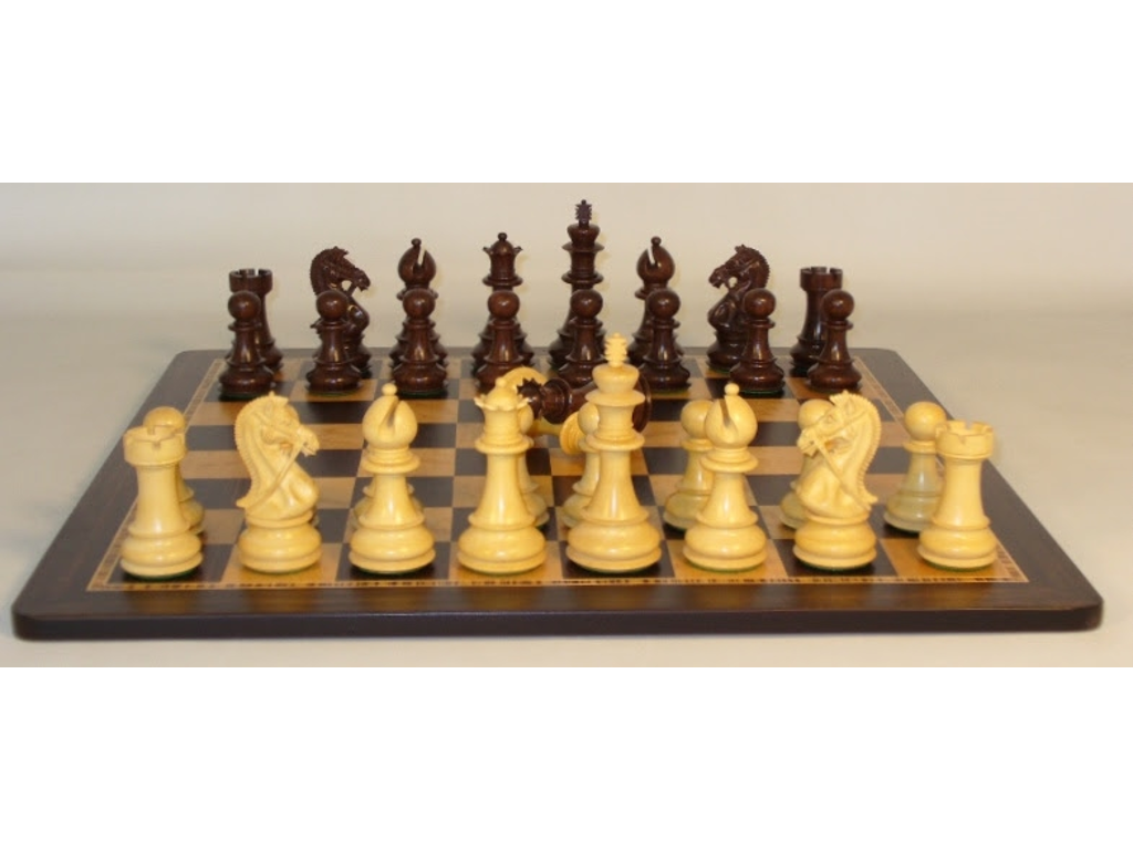 Rosewood Bridle Knight Chessmen with Ebony/Birdseye Maple Wood Veneer Board