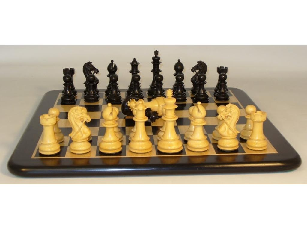 Ebony Bridle Knight Chessmen with Ebony/Maple Thick Wood Veneer Chess Board