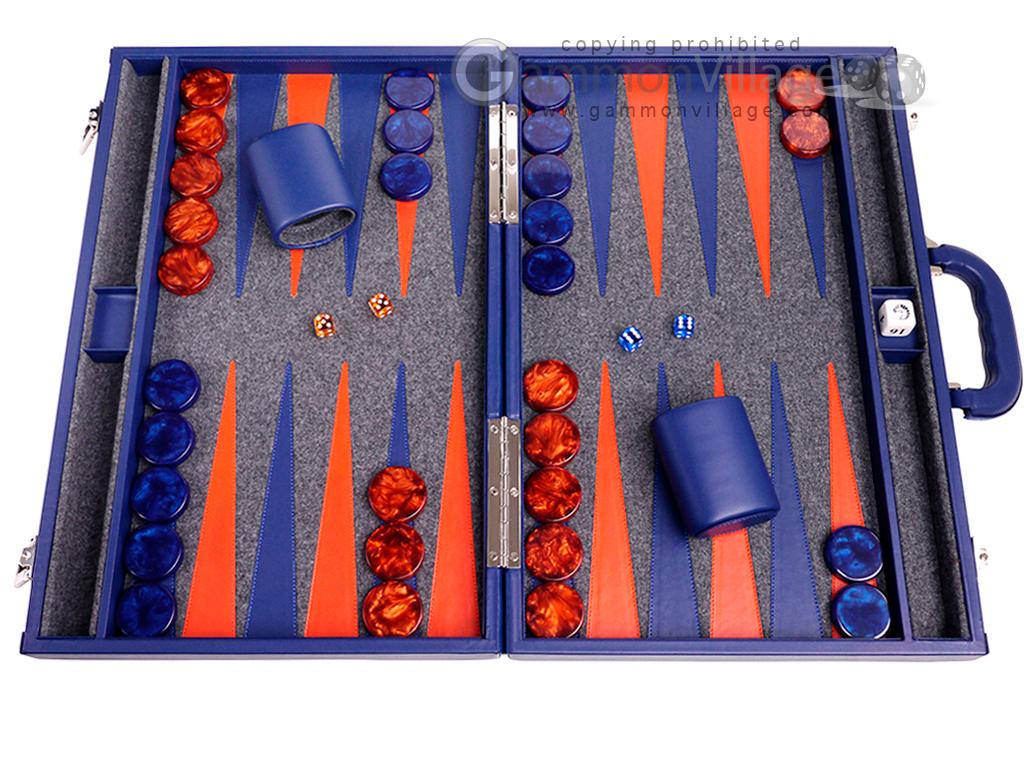Aries™ Professional Leather Backgammon Set - Blue Case with Grey Field