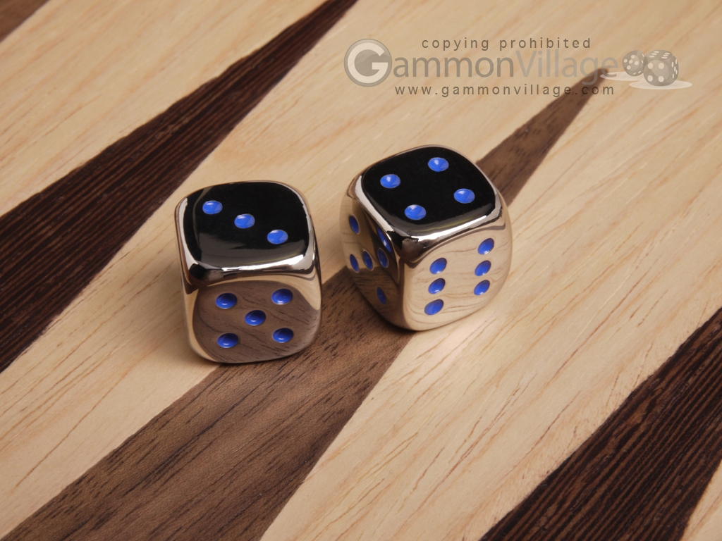 5/8 in. Zinc Alloy Metal Dice - Blue (1 pair)