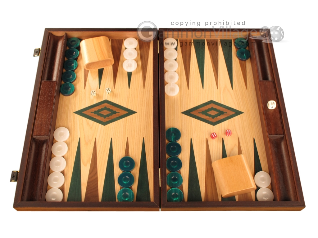 Oak Backgammon Set - Large - Green