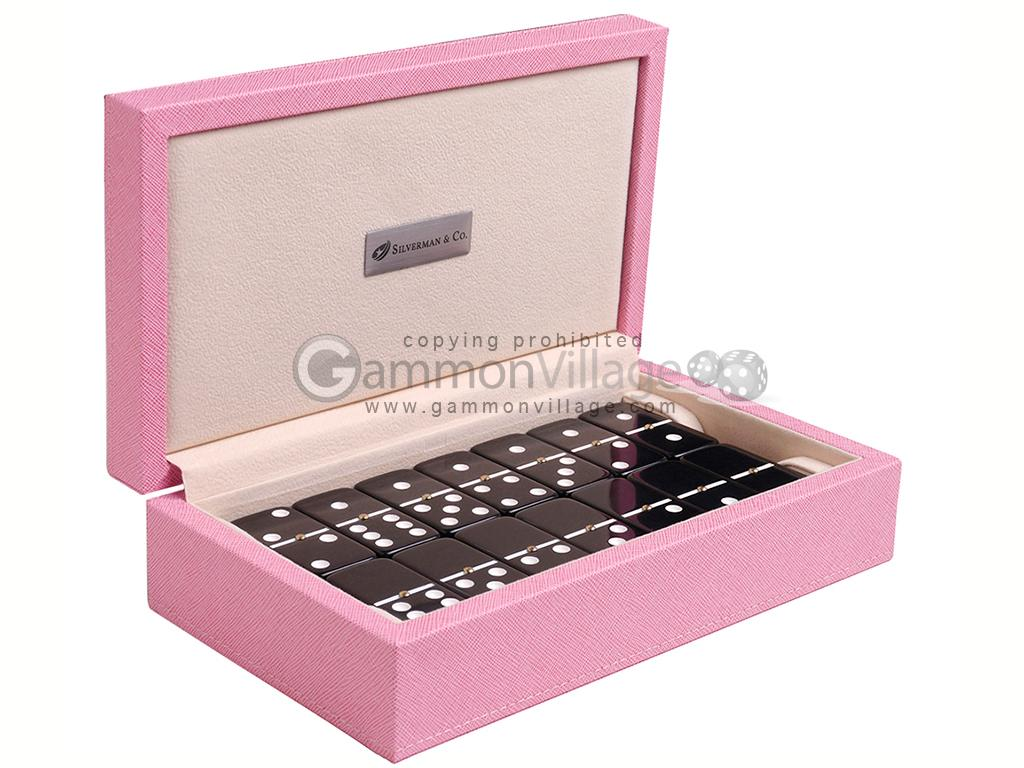 Silverman & Co. Double 6 Large Black Domino Set - Pink Case