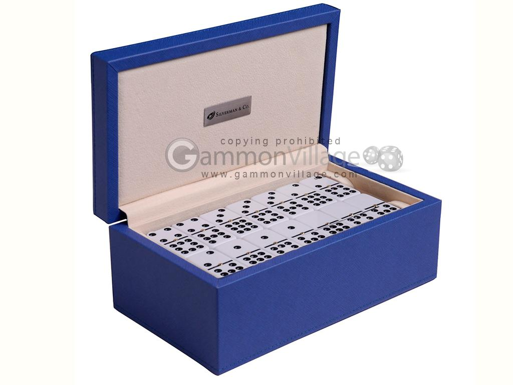 Silverman & Co. Double 9 Large White Domino Set - Blue Case