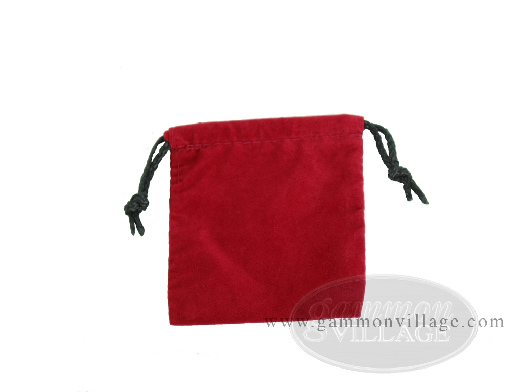 Deluxe Red Felt Dice Bag - (4 in. x 5 in.)
