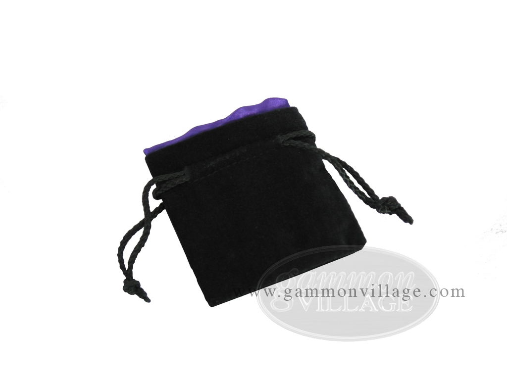 Black Velvet Dice Bag With Purple Satin Lining - (3 1/4 in. x 4 in.)