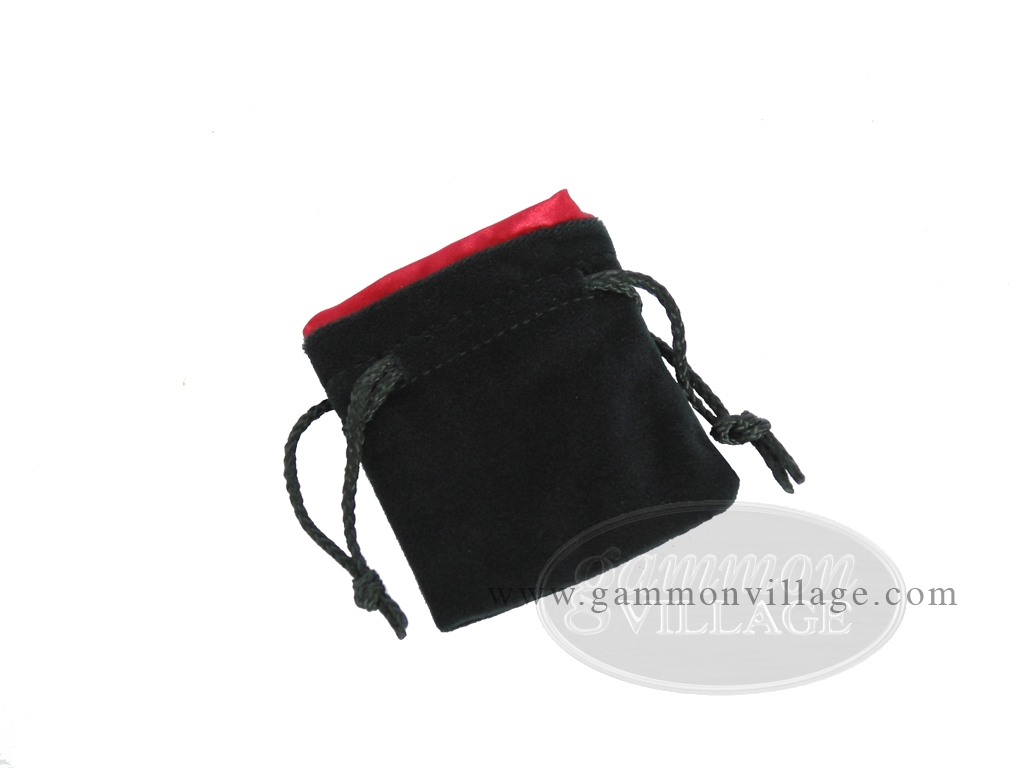 Black Velvet Dice Bag With Red Satin Lining - (3 1/4 in. x 4 in.)