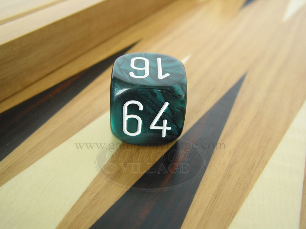 1 3/16 in. Backgammon Doubling Cube - Green Marbleized
